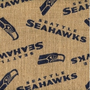 NFL Football Seattle Seahawks Burlap Jute Fabric by the Yard