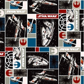 Star Wars Immortals Rebel Ship Millennium Falcon Patch Cotton Fabric