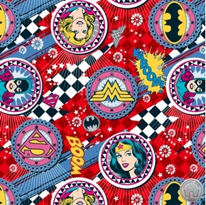 Girl Power II Wonder Woman Supergirl Batgirl Badge Red Cotton Fabric