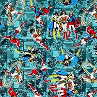 Picture of Girl Power II Wonder Woman Supergirl Batgirl Teal Cotton Fabric