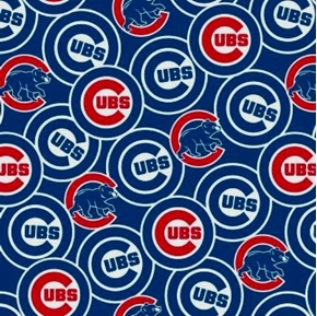 MLB Baseball Chicago Cubs New Logos Bears Blue 18x29 Cotton Fabric