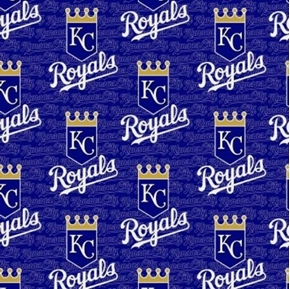 MLB Baseball Kansas City Royals Logos Dark Blue 18x29 Cotton Fabric