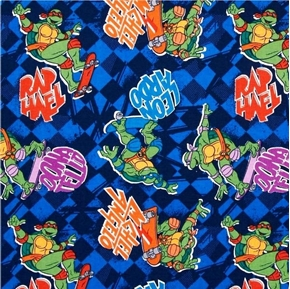 Picture of TMNT Teenage Mutant Ninja Turtles Turtle Toss on Checks Cotton Fabric