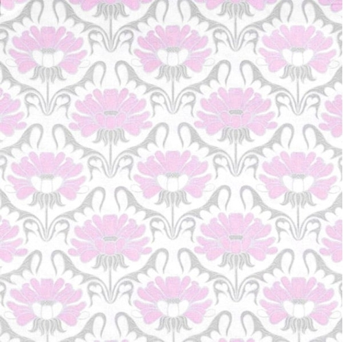Concord House Grace Fl Pink Grey Blooms On White Cotton Fabric