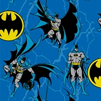 Picture of Batman Rope DC Comics Batman and Bat Signs on Blue Cotton Fabric