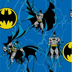 Batman Rope DC Comics Batman and Bat Signs on Blue Cotton Fabric