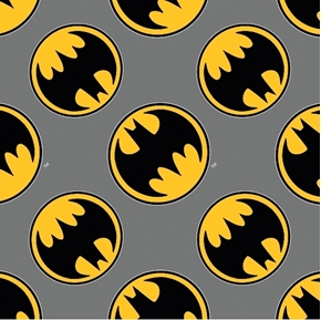 Flannel Batman Directional Bat Signs on Grey Cotton Fabric
