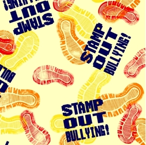 Take a Stand Stamp Out Bullying Shoe Prints Yellow Cotton Fabric