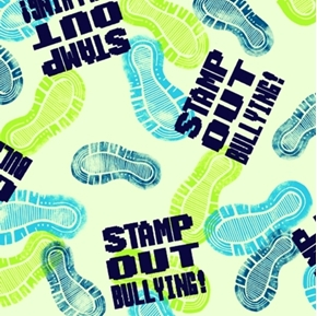 Take a Stand Stamp Out Bullying Shoe Prints Green Cotton Fabric