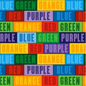 The Color Express Names of Colors in Blocks Cotton Fabric