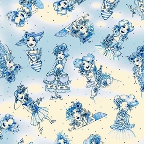Flora Bleu Fancy Women Decorated in Flowers and Blue Cotton Fabric