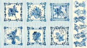 Flora Bleu Floral Bouquet Blocks Women Blue 24x44 Cotton Fabric Panel