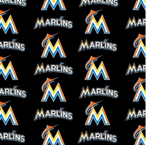 MLB Baseball Florida Marlins Black 18x29 Cotton Fabric