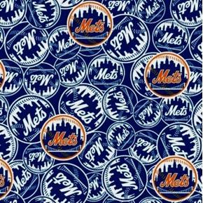 MLB Baseball New York Mets New Logo Blue 18x29 Cotton Fabric