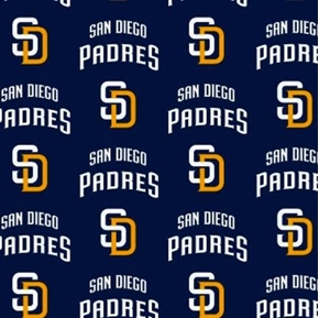 MLB Baseball San Diego Padres New Logo Navy Blue 18x29 Cotton Fabric