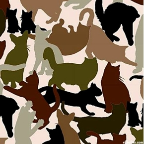 Picture of Cat Breeds Green and Gray Cats and Kittens Silhouettes Cotton Fabric