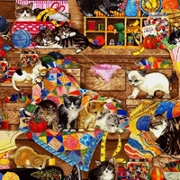 Picture of Whiskers and Tails Cats Kittens in the Sewing Room Cotton Fabric