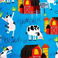 Picture of Bessie and The Dairyinettes Musical Cows Dancing Blue Cotton Fabric