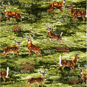 Bringing Nature Home Wild Deer Buck in the Grassland Cotton Fabric