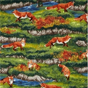 Picture of Bringing Nature Home Red Foxes by the Creek Fox Home Cotton Fabric