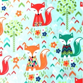 Snug as a Fox Foxes with Colorful Sweaters Cotton Fabric