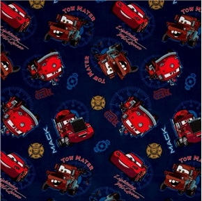 Picture of Disney Cars Allover Tow Mater Mack Red Fire Department Cotton Fabric