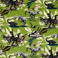 Picture of Jurassic World Jungle Rules Vector Dinos Dinosaur Green Cotton Fabric