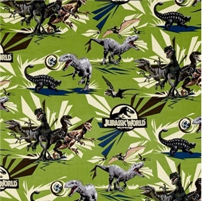 Jurassic World Jungle Rules Vector Dinos Dinosaur Green Cotton Fabric