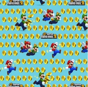 Nintendo Super Mario 2 Coins Video Game Aqua Cotton Fabric