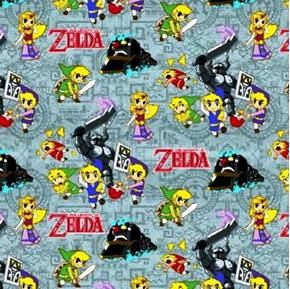 Picture of Nintendo Legend of Zelda Spirit Tracker Grey Cotton Fabric