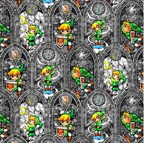 Picture of Nintendo Legend of Zelda Sword Powers Grey Cotton Fabric