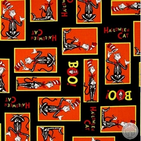 Spooktacular Seuss The Cat in the Hat Halloween Orange Cotton Fabric