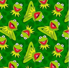 Picture of Sesame Street Muppets Kermit Toss Kermit the Frog Green Cotton Fabric