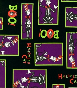 Spooktacular Seuss The Cat in the Hat Halloween Purple Cotton Fabric