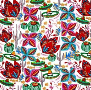 Picture of Cinco de Mayo Flores De Cactus Drawings Flowers White Cotton Fabric