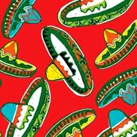 Picture of Cinco de Mayo Festival Mexican Sombrero Hats Red Cotton Fabric