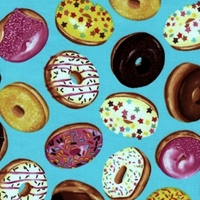 Picture of Tossed Donuts Delicious Iced Donuts on Aqua Cotton Fabric