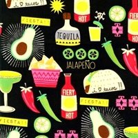 Picture of Tacos and Tequila Mexican Food Beverage Hot Sauce Black Cotton Fabric
