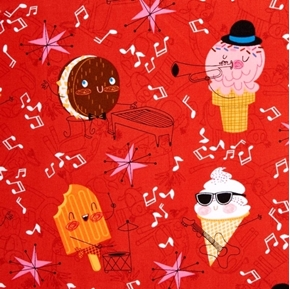 Picture of Bessie and The Dairyinettes Musical Ice Cream Cone Pops Cotton Fabric