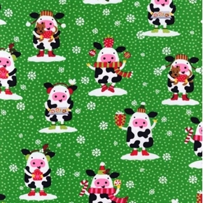 Picture of Christmas Cows Cute Cows Dressed for the Holidays Green Cotton Fabric