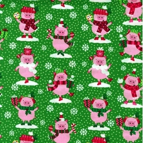 Picture of Christmas Pigs Cute Pigs Dressed for the Holidays Green Cotton Fabric