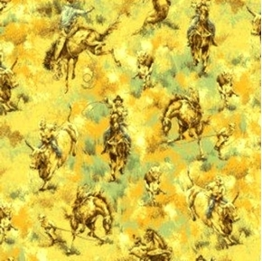 Rodeo Scenic Cowboy Lasso Calves Horses Cotton Fabric