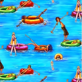 Summertime Kids and Dogs Floating and Playing in Water Cotton Fabric