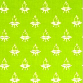 Spaced Out Alien Space Ships on Lime Green Cotton Fabric