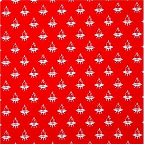 Picture of Spaced Out Alien Space Ships on Red Cotton Fabric