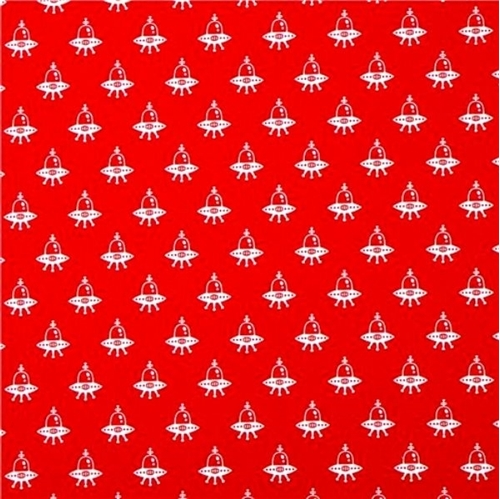 Spaced Out Alien Space Ships on Red Cotton Fabric