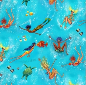 Picture of Summertime Kids Swimming with Fish and Turtles Cotton Fabric