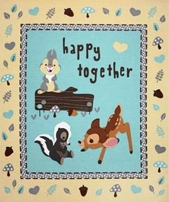 Disney Bambi Happy Together Large Cotton Fabric Panel