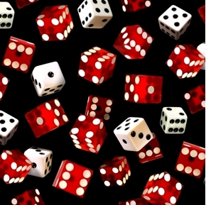Game of Chance Red and White Dice on Black Cotton Fabric