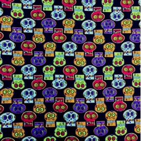 Colorful Sugar Skulls in Rows on Black Halloween Cotton Fabric